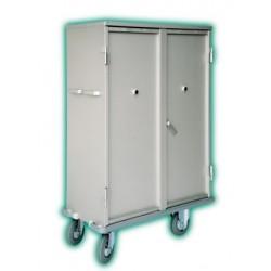 Armoire à linge en alu - 2 étagères (3 niveaux)