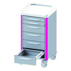 Chariot de soins NEOP 400 x 400  à tiroirs télescopiques
